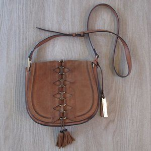 VINCE CAMUTO Cognac Suede Leather Boho Hobo Bag